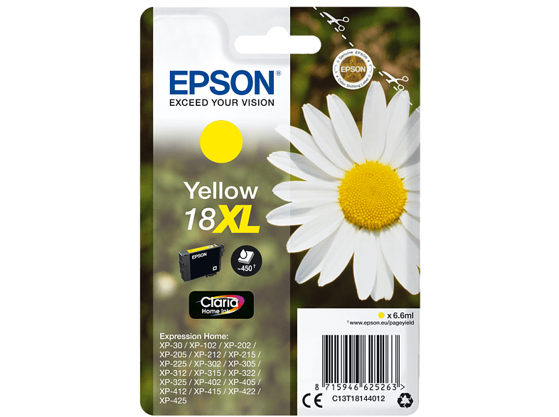 EPSON Singlepack Yellow 18XL Claria Home Ink - (C13T18144012) laptop  tablet  computing  εκτύπωση   μελάνια μελάνια  toner