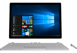 MICROSOFT Surface Book mit Performance Base, Convertible mit 13.5 Zoll, 512 GB Speicher, 16 GB RAM, Core™ i7 Prozessor, Windows 10 Pro, Silber