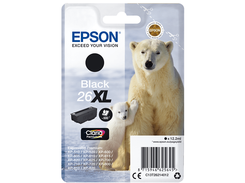 EPSON Singlepack Black 26XL Claria Premium Ink - (C13T26214012) laptop  tablet  computing  εκτύπωση   μελάνια μελάνια  toner