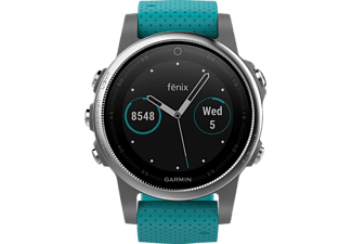 GARMIN  Fenix 5S, Smart Watch, 220 mm, Silikon, Silber/Türkis