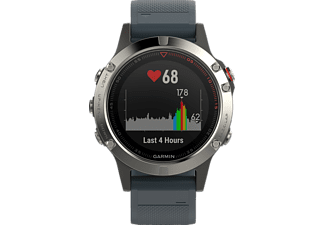 GARMIN  Fenix 5, Smart Watch, 235 mm, Silikon, Silber/Blau