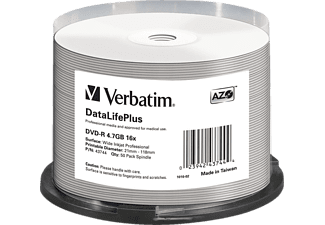 VERBATIM 43744 WIDE INKJET PROFESSION DVD-R, Rohling, 50er Spindel