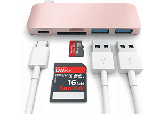 SATECHI i USB Type-C Pass Through USB Hub – 3-i-1 hub - Roséguld
