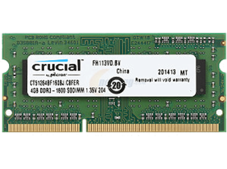 CRUCIAL DDR3 4GB 1600MHZ SODIMM Single Rank laptop  tablet  computing  αναβάθμιση υπολογιστή μνήμες ram