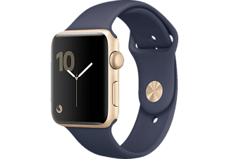 APPLE Watch Series 2, Smart Watch, Polymer, 38 mm, Gold/Mitternachtsblau