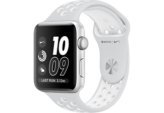 APPLE Watch Nike+ Series 2 - 38mm Aluminiumboett i silver & Nike‑sportband i platina/vitt