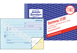 AVERY ZWECKFORM 1736 Quittung inkl. MwSt.
