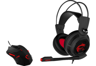 MSI 956-B907-102 Gaming Pack Bundle, Gaming Maus + Gaming Headset, kabelgebunden, Schwarz/Rot