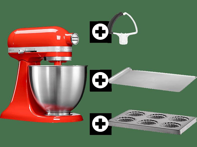 kitchenaid 5ksm3311xeht inkl backblech mini kuchenbackblech und felxirhrer kchenmaschine hot sauce rot - Kitchenaid Kuchenmaschine Rot