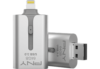 PNY DUO-LINK 3.0 On-The-Go-Flash, USB-Stick, 64 GB