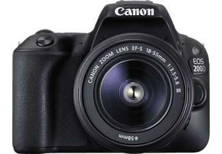 CANON EOS 200D Kit Spiegelreflexkamera, 24.2 Megapixel, Full HD, CMOS Sensor, Near Field Communication, WLAN, 18-55 mm Objektiv (DC, EF-S), Autofokus, Touchscreen, Schwarz