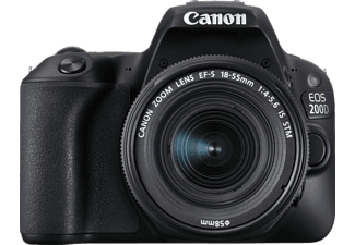CANON EOS 200D Kit Spiegelreflexkamera, 24.2 Megapixel, Full HD, CMOS Sensor, Near Field Communication, WLAN, 18-55 mm Objektiv (EF-S, IS, STM), Autofokus, Touchscreen, Schwarz