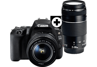 CANON EOS 200D Kit Spiegelreflexkamera, 24.2 Megapixel, Full HD, CMOS Sensor, Near Field Communication, WLAN, 18-55 mm, 75-300 mm Objektiv (EF-S, EF), Autofokus, Touchscreen, Schwarz