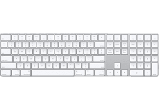 APPLE MQ052LB/A Magic Keyboard mit Ziffernblock US ENG, Bluetooth Tastatur, Silber