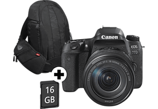 CANON EOS 77D VUK Kit Spiegelreflexkamera inkl. Tasche + 8 GB Speicherkarte, 24.20 Megapixel, Full HD, Near Field Communication, WLAN, 18-135 mm Objektiv (EF-S, IS, USM), Autofokus, Touchscreen, Schwarz