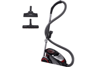 HOOVER XP81_XP15, Staubsauger ohne Beutel, Onyx Schwarz/ Rot