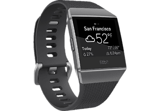FITBIT Ionic, Fitness Tracker, Elastomer, S/L, Charcoal/Smoke Gray