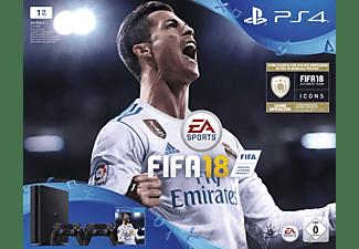 SONY PlayStation 4 1 TB Schwarz + FIFA 18 + 2. DualShock4 Controller + PS Plus 14 Tage