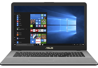ASUS N705UD-GC005T, Gaming Notebook mit 17.3 Zoll Display, Core™ i7 Prozessor, 16 GB RAM, 1 TB HDD, 128 GB SSD, GeForce GTX 1050, Grey Metal