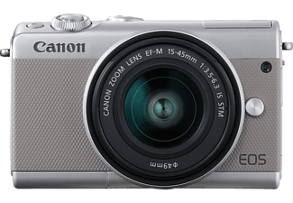 CANON EOS M100 Kit Systemkamera, 24.2 Megapixel, Full HD, HD, VGA, CMOS-Sensor Sensor, Near Field Communication, WLAN, 15-45 mm Objektiv, Autofokus, Touchscreen, Grau