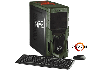 HYRICAN MILITARY 5561, Gaming PC mit Ryzen™ 5 Prozessor, 8 GB RAM, 120 GB SSD, 1 TB HDD, Geforce® GTX 1050 Ti