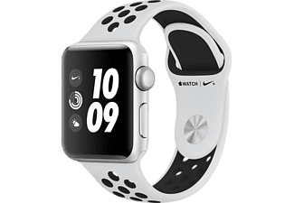 APPLE Watch Nike+ (GPS) 38 mm, Smartwatch, Hochleistungs-Fluorelastomer, 130 - 200 mm, Silber mit Nike Sportarmband Pure Platinum/Schwarz