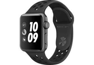 APPLE Watch Nike+ (GPS) 38 mm, Smartwatch, Hochleistungs-Fluorelastomer, 130 - 200 mm, Space Grau mit Nike Sportarmband Anthrazit/Schwarz