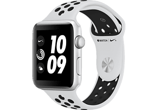 APPLE  Watch Nike+ (GPS) 42 mm Smartwatch Aluminium Hochleistungs-Fluorelastomer, 140-210 mm, Silber mit Nike Sportarmband Pure Platinum/Schwarz