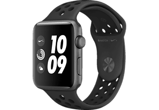APPLE Watch Nike+ (GPS) 42 mm, Smartwatch, Hochleistungs-Fluorelastomer, 140 - 210 mm, Space Grau mit Nike Sportarmband Anthrazit/Schwarz
