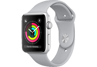 APPLE  Watch Series 3 (GPS) 42 mm Smartwatch Aluminium Hochleistungs-Fluorelastomer, 140 - 210 mm, Silber mit Sportarmband Nebel