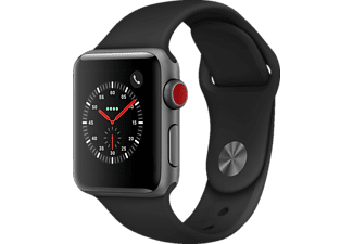APPLE Watch Series 3 (GPS + Cellular) 38 mm, Smartwatch, Hochleistungs-Fluorelastomer, 130 - 200 mm, Space Grau mit Sportarmband Schwarz