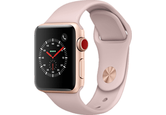 APPLE Watch Series 3 (GPS + Cellular) 38 mm, Smartwatch, Hochleistungs-Fluorelastomer, 130 - 200 mm, Gold mit Sportarmband Sandrosa