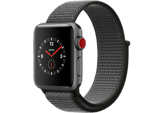 APPLE Watch Series 3 (GPS + Cellular) 38 mm, Smartwatch, Gewebtes Nylon, 130 - 190 mm, Space Grau mit Sport Loop Dunkeloliv