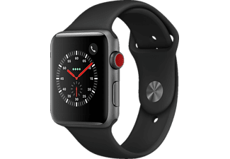 APPLE  Watch Series 3 (GPS + Cellular) 42 mm Smartwatch Aluminium Hochleistungs-Fluorelastomer, 140-210 mm, Space Grau mit Sportarmband Schwarz