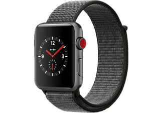 APPLE  Watch Series 3 (GPS + Cellular) 42 mm Smartwatch Aluminium Gewebtes Nylon, 145-220 mm, Space Grau mit Sport Loop Dunkeloliv