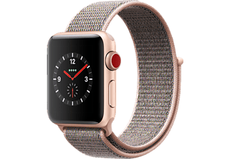 APPLE Watch Series 3 (GPS + Cellular) 38 mm, Smartwatch, Nylon, 130 - 190 mm, Gold mit Sport Loop Sandrosa