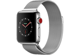 APPLE Watch Series 3 (GPS + Cellular) 38 mm, Smartwatch, Edelstahl, 130 - 180 mm, Edelstahl mit Milanaise Armband