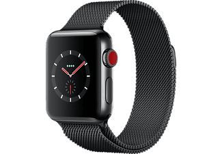 APPLE Watch Series 3 (GPS + Cellular) 38 mm, Smartwatch, Edelstahl, 130 - 180 mm, Space Schwarz mit Milanaise Armband Space Schwarz
