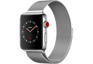 APPLE Watch Series 3 (GPS + Cellular) 42 mm, Smartwatch, Edelstahl, 150 - 200 mm, Edelstahl mit Milanaise Armband