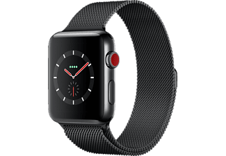 APPLE Watch Series 3 (GPS + Cellular) 42 mm, Smartwatch, Edelstahl, 150 - 200 mm, Space Schwarz mit Milanaise Armband Space Schwarz
