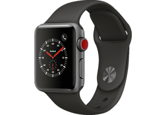 APPLE Watch Series 3 (GPS + Cellular) 38 mm, Smartwatch, Hochleistungs-Fluorelastomer, 130 - 200 mm, Space Grau mit Sportarmband Grau