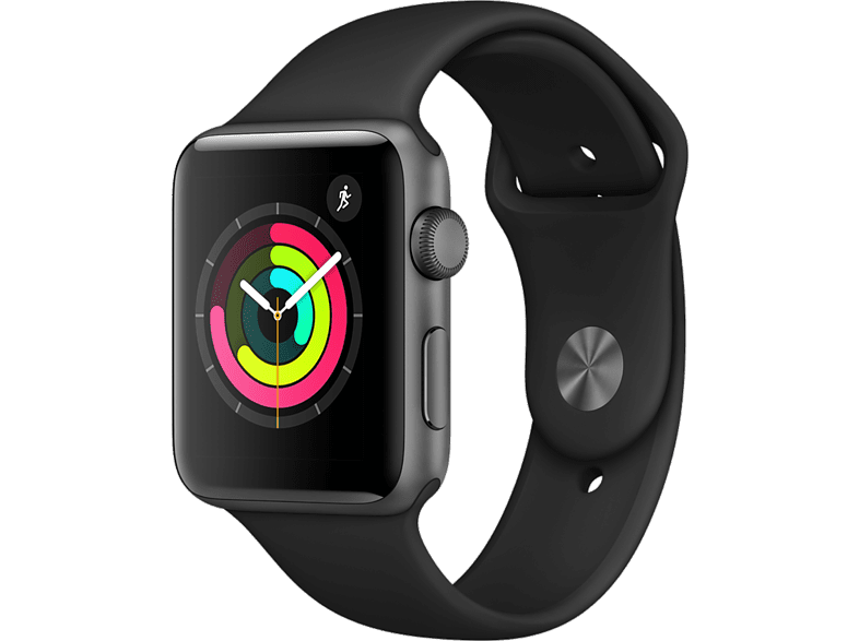 APPLE Watch Series 3 42mm Space Grey με μαύρο sport band smartphones   smartliving wearables smartwatches