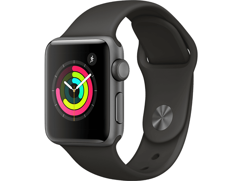APPLE Watch Series 3 42mm Space Grey με γκρι sport band smartphones   smartliving wearables smartwatches