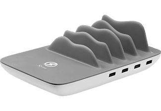 XLAYER Family Charger Maxi 4-Port USB PLUS Wireless Ladestation, passend für Universal Universal, Weiß/Grau