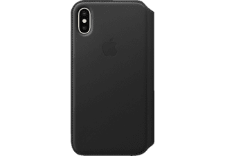 APPLE iPhone X Leder Folio Case, Apple, Bookcover, iPhone X, Leder, Schwarz