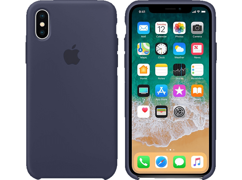 APPLE Θήκη iPhone X Silicone Midnight Blue smartphones   smartliving iphone θήκες iphone smartphones   smartliving αξεσουάρ