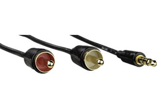 HAMA 3,5-mm-Klinken-St. Stereo - 2 Cinch-St Audio-Kabel, Schwarz