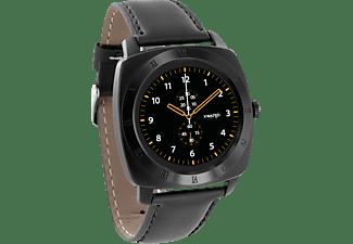 XLYNE  PRO NARA XW (54006) Smart Watch Metall Echtleder, 200 mm x 24 mm, Gehäuse: Black Chrome / Armband: Black