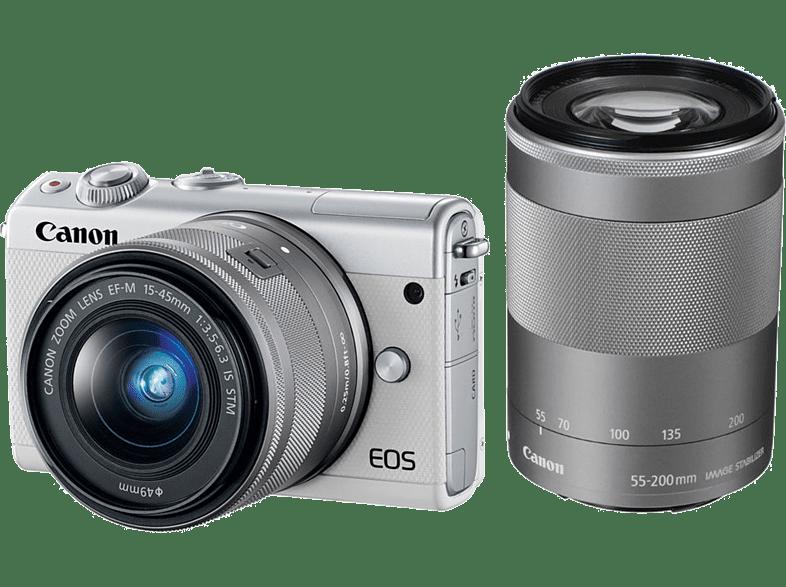 CANON EOS M100 με φακό 15-45mm + 55-200mm White hobby   φωτογραφία φωτογραφικές μηχανές mirrorless cameras