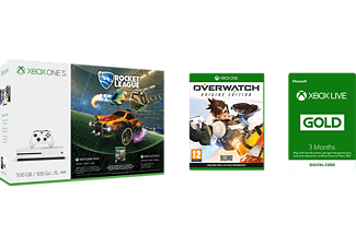 MICROSOFT XBOX ONE S 500GB inkl Rocket League, Overwatch och 3 månader XB Live